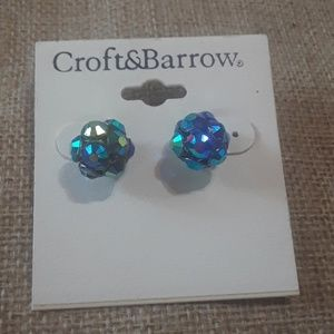 Rhinestone blue AB ball post earrings.  J7-1278